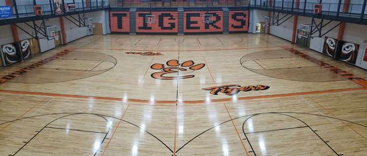 Lucco-Jackson Gymnasium inside Edwardsville High School sits empty before the start of basketball practice. Local high schools are beginning to transition for winter to spring sports with games moving outdoors.