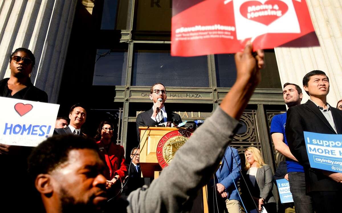 California State Senator Scott Wiener speaks during a rally for Senate Bill 50 outside Oakland City Hall on Tuesday, Jan. 7, 2020, in Oakland, Calif.