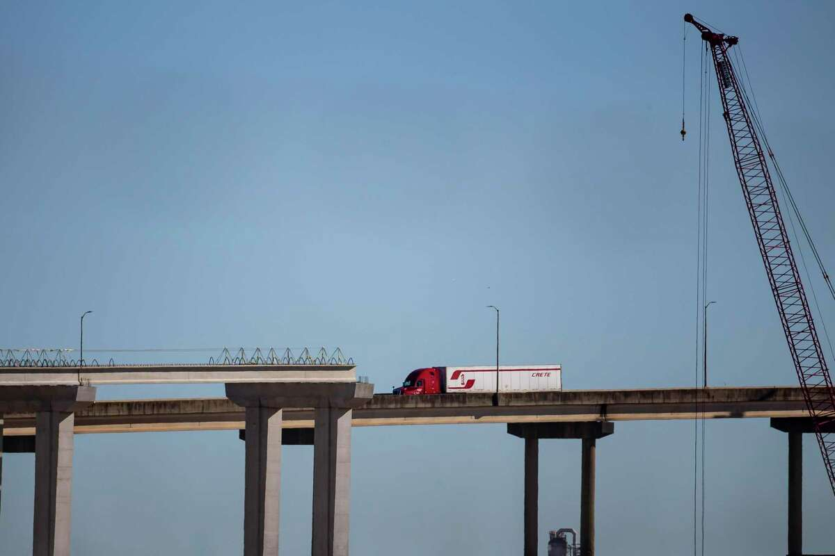 Work stopped in January on the support pillars for the new Ship Channel Bridge along the Sam Houston Tollway, seen on Jan. 7, 2020. Engineers must agree on a solution to a possible design flaw found nearly 20 months into construction.