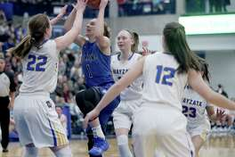 Minnetonka, MN February 1: Hopkins Paige Bueckers (1) owned the night, leading her team to a 69-66 win over Wayzata while reaching 2000 high school career points as a junior, and seen driving towards the basket during the second half. (Photo by David Joles/Star Tribune via Getty Images)