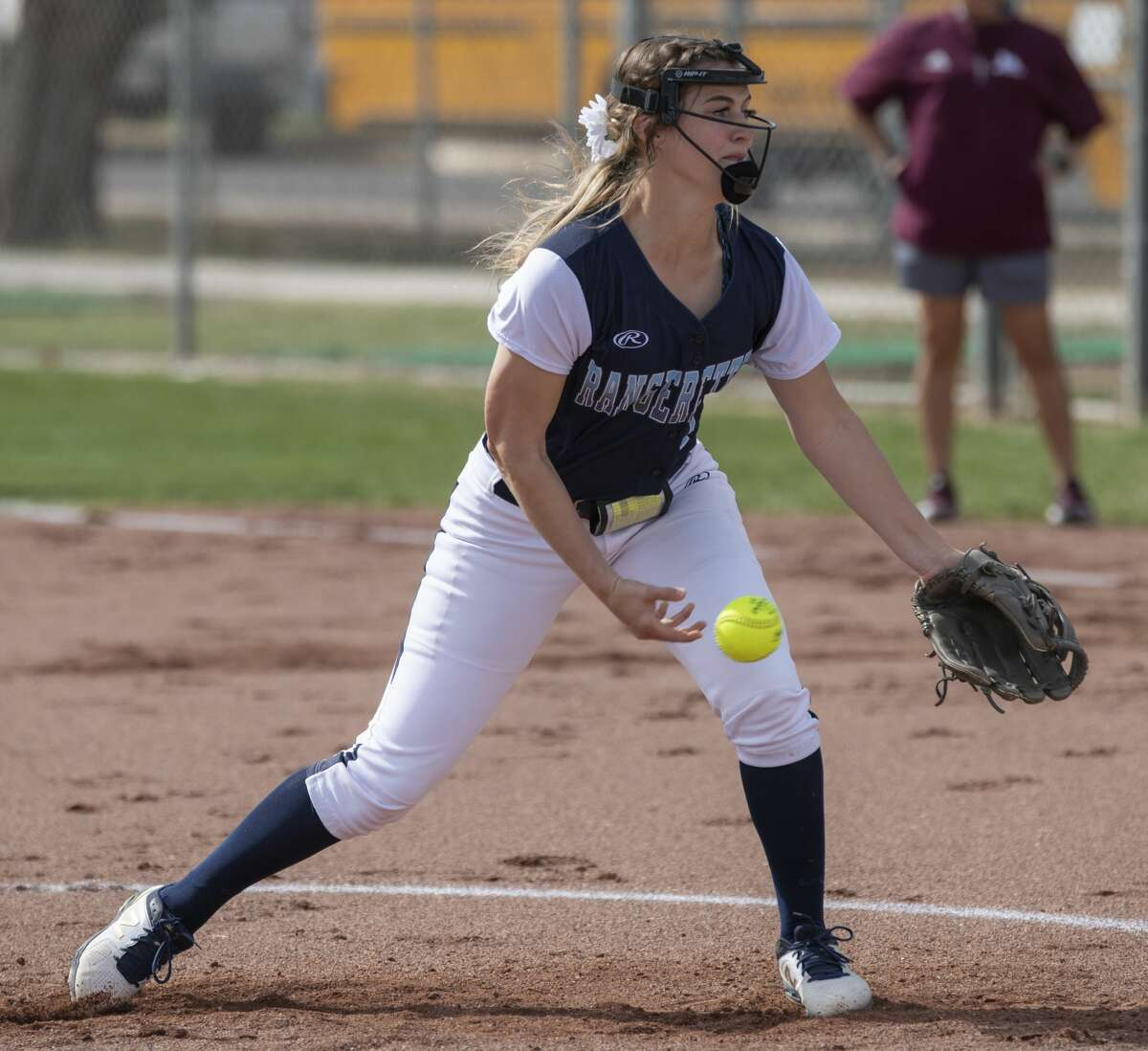 Greenwood starting pitcher Karlie Savage delivers a throw 03/09/2020 against Lee High at Gene Smith Field at LHS. Tim Fischer/Reporter-Telegram