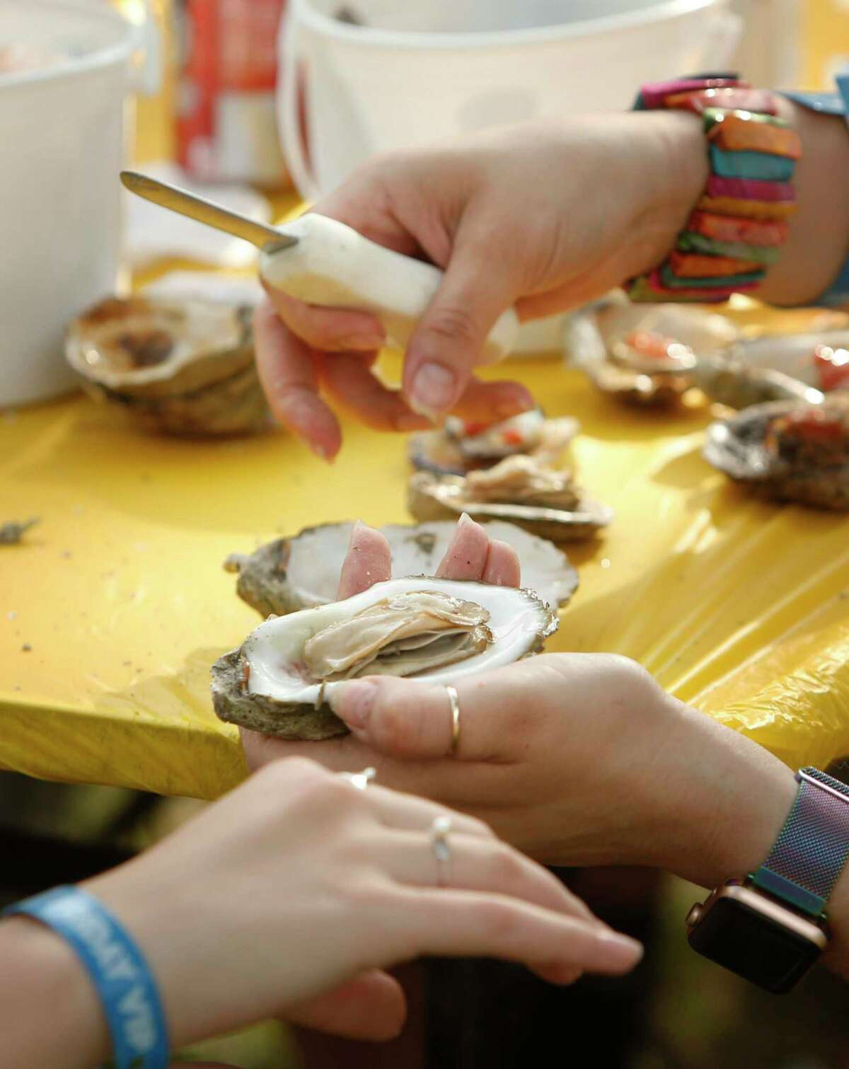 Volunteers open oysters during the 2019 Fiesta Oyster Bake