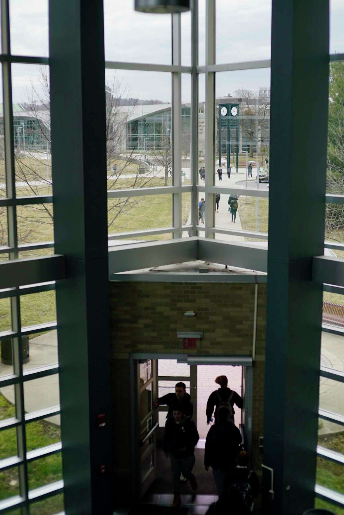 Students make their way between classes at Hudson Valley Community College on Monday, March 2, 2020, in Troy, N.Y. (Paul Buckowski/Times Union)