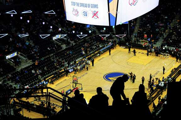 At a Warriors game on Saturday, the Chase Center offered a public service announcement on germs.