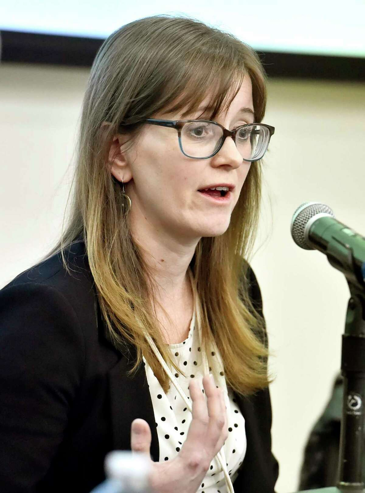 """West Haven, Connecticut - Monday, March 09, 2020: Virologist Anna Kloc, Ph.d., a University of New Haven Assistant Professor of Biology and Environmental Science speaks during a panel discussion Monday on """"Perspectives on COVID-19: Science, Safety, and Society at the University of New Haven in West Haven."""
