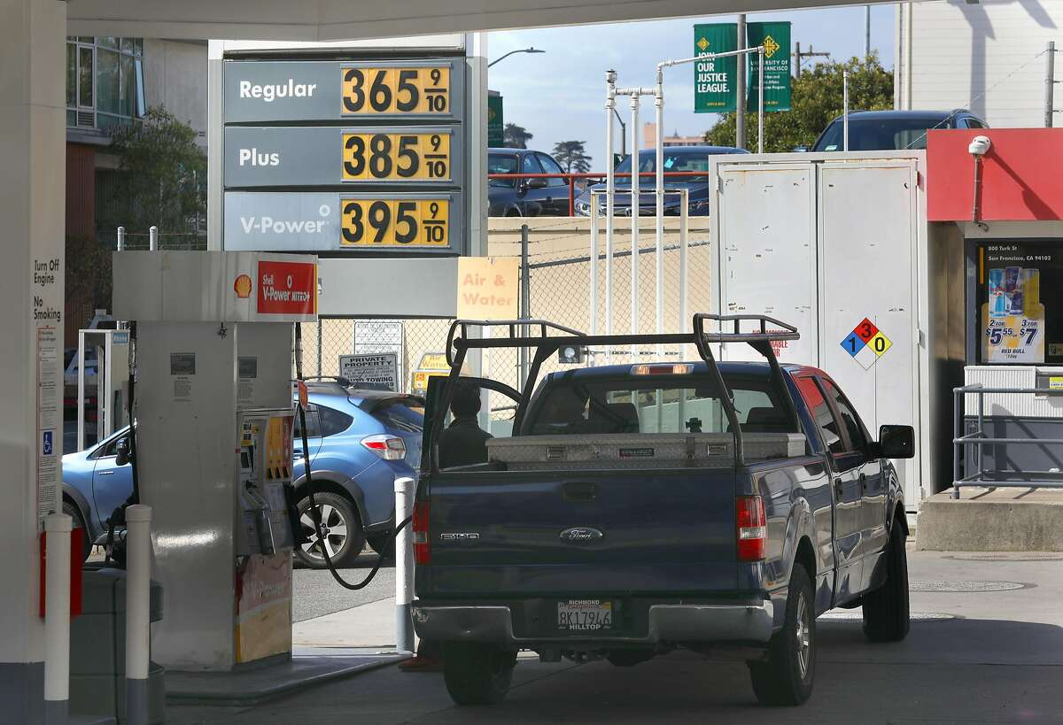Prices are displayed at a Shell gas station in San Francisco a year ago.