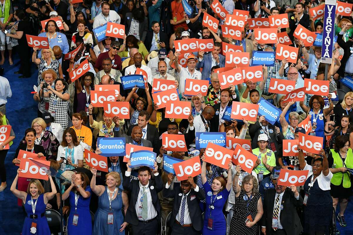 PHILADELPHIA, PA - JULY 27: Delegates hold signs showing support for Vice President Joe Biden, during the third day of the Democratic National Convention in Philadelphia on Wednesday, July 27, 2016. (Photo by Ricky Carioti/The Washington Post via Getty Images)