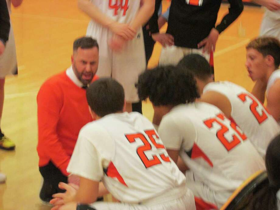 Terryville coach Mark Fowler kept his Kangaroos on an even keel against a scrappy Cheney Tech challenge for a first-round Division V state tournament win at Terryville High School Monday night. Photo: Peter Wallace / For Hearst Connecticut Media
