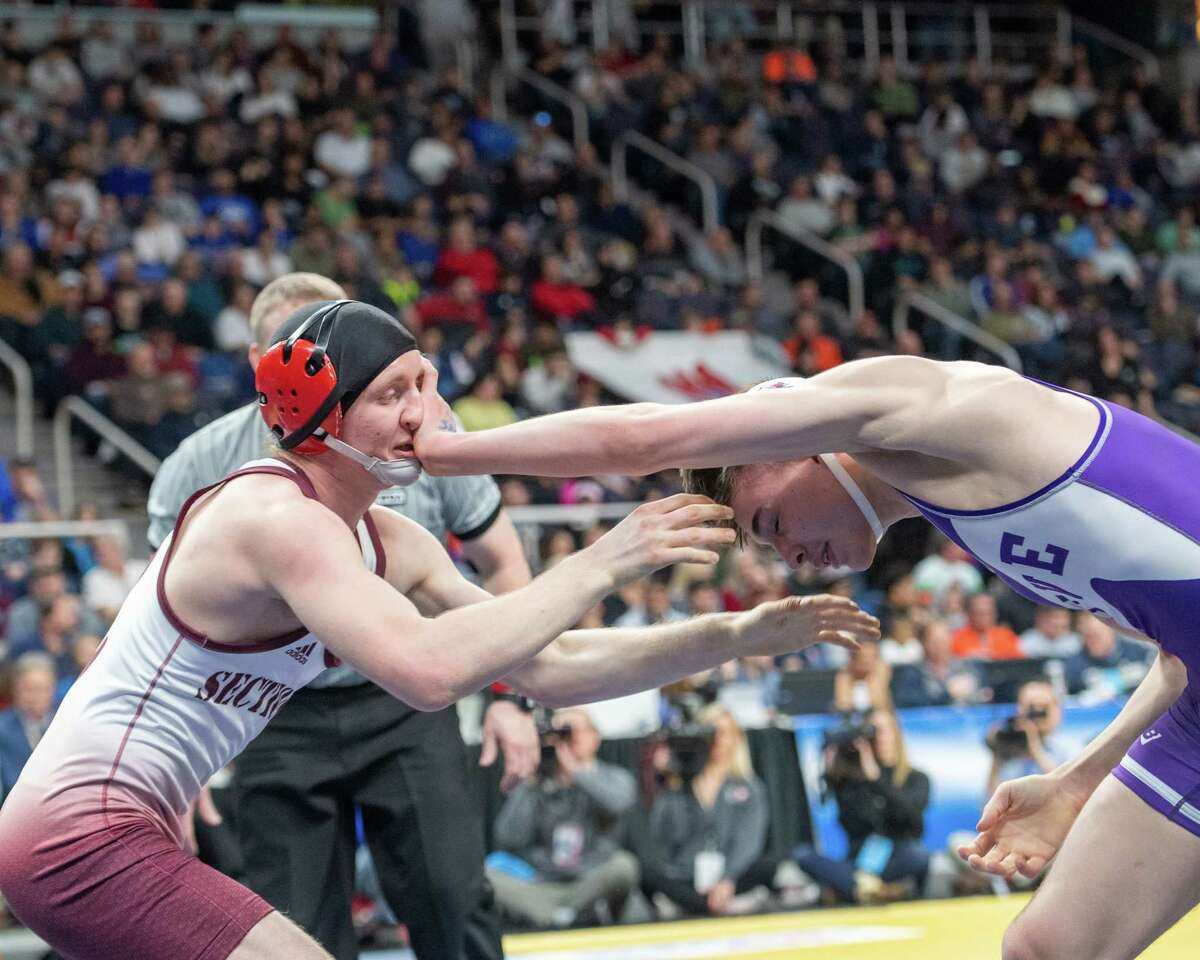 Tamarac senior Bobby Treshock wrestles Ethan Ferro, of Palmyra Macedon, to win the Division II, 145-pound New York State Championship at the Times Union Center in Albany NY on Saturday, Feb. 29, 2020 (Jim Franco/Special to the Times Union.)