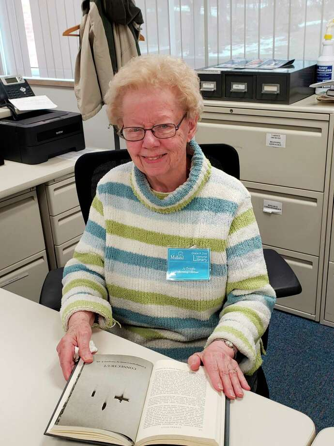 Pictured is Jo Brines, a 40-year veteran of the information desk at the Midland Genealogical Society. (Photo provided)