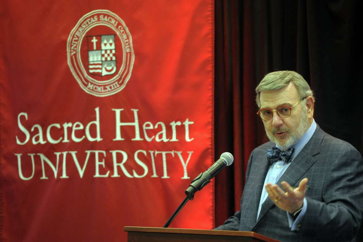 Sacred Heart University President John Petillo speaks during a ribbon cutting ceremony for the school's new IDEA Lab, an engineering and innovation center in Fairfield, Conn. Jan. 31, 2020.