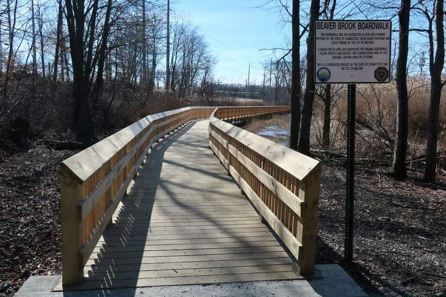 The entrance to the Beaver Brook Boardwalk, which opened in December after being destroyed by fire and rebuilt. Photo: Tom Ebersold / For Hearst Connecticut Media / Milford Mirror Contributed