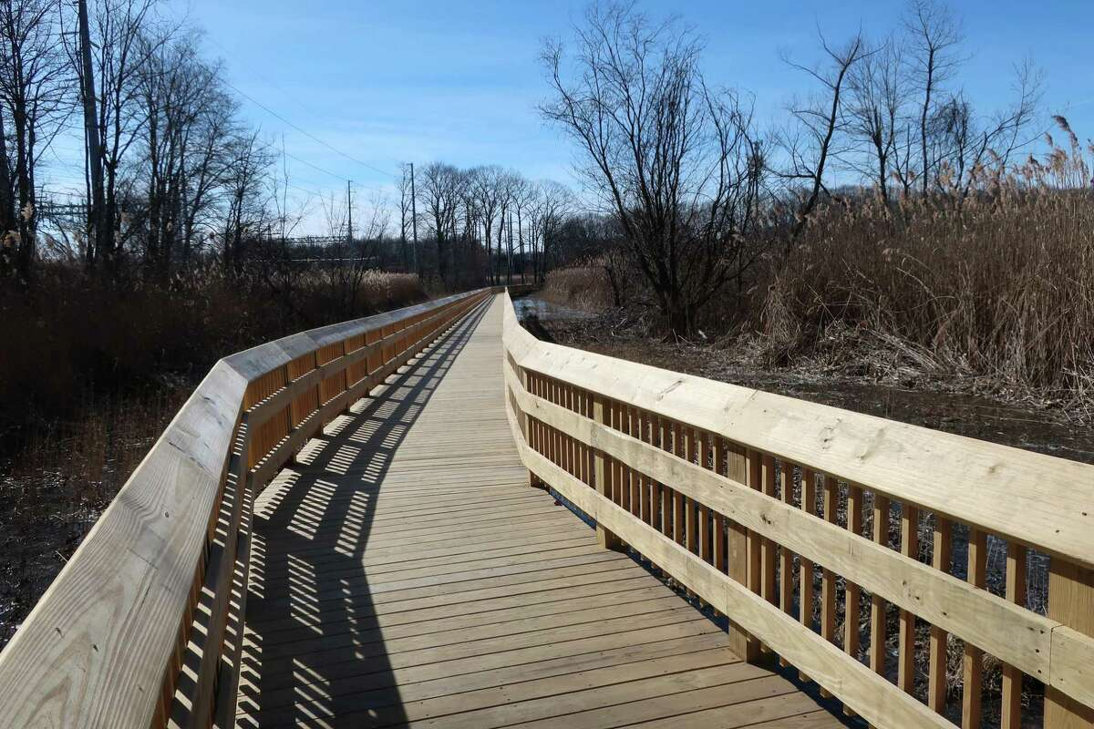 A bend in the Beaver Brook Boardwalk, open again after a fire forced reconstruction.