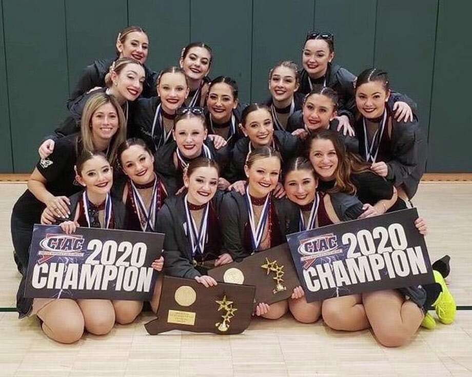 The state champion Branford dance team in hip hop and jazz, including coaches Jacqui Montano and Megan Palluzzi; seniors Samantha Esposito, Isabella Petrosino, Johnna Palmese, Olivia Vitale and Juliana Robinson; junior Layla Redente; sophomores Anna Perricone, Emma Angelo and Mallory Baughman; and freshmen Bryanna Lye, Ava DeMilo, Isabella Brancati, Isabella Kopczuk, Kylie Butler, Olivia Torello and Jillian Vandale. Photo: Contributed