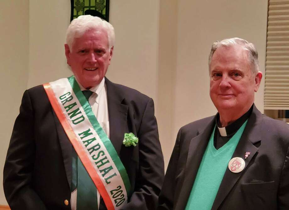 This year's Grand Marshal John Toner, former selectman, along with last year's Grand Marshal, Monsignor Peter Cullen, at the installation dinner last weekend for the St. Patrick's Day Parade in Greenwich. Photo: /