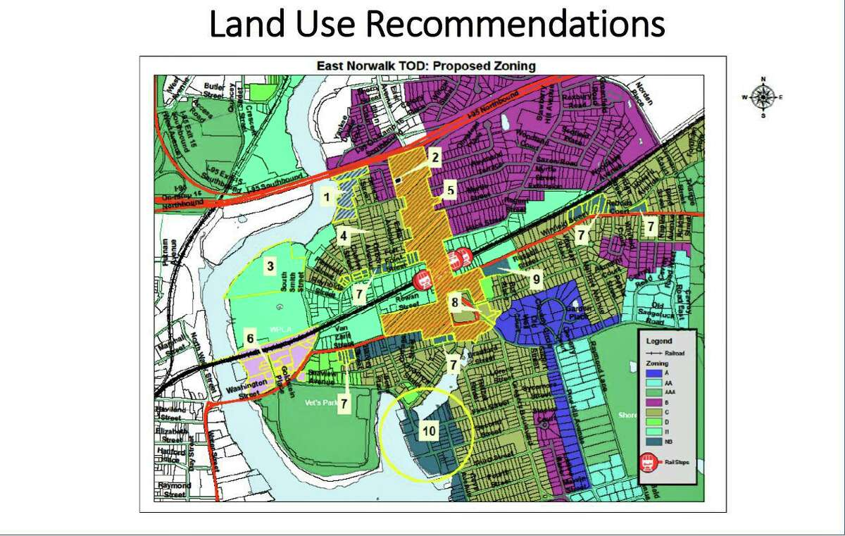 Land use recommendations outlined in the East Norwalk Transit Oriented Development Plan.