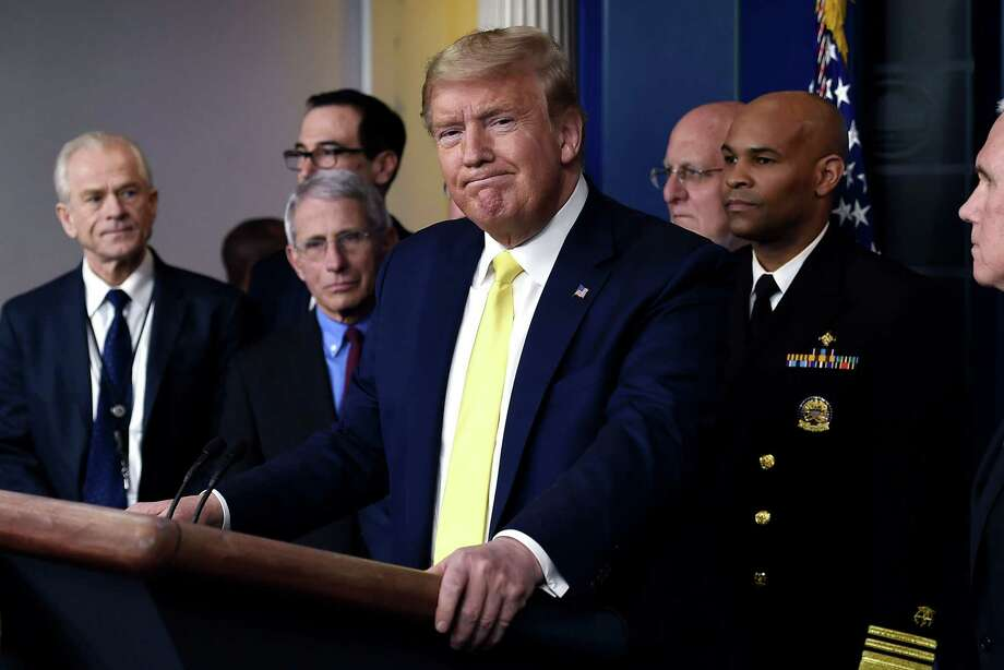 President Donald Trump speaks about the COVID-19 (coronavirus) alongside members of the Coronavirus Task Force in the Brady Press Briefing Room at the White House this week. Photo: Getty Images / AFP or licensors