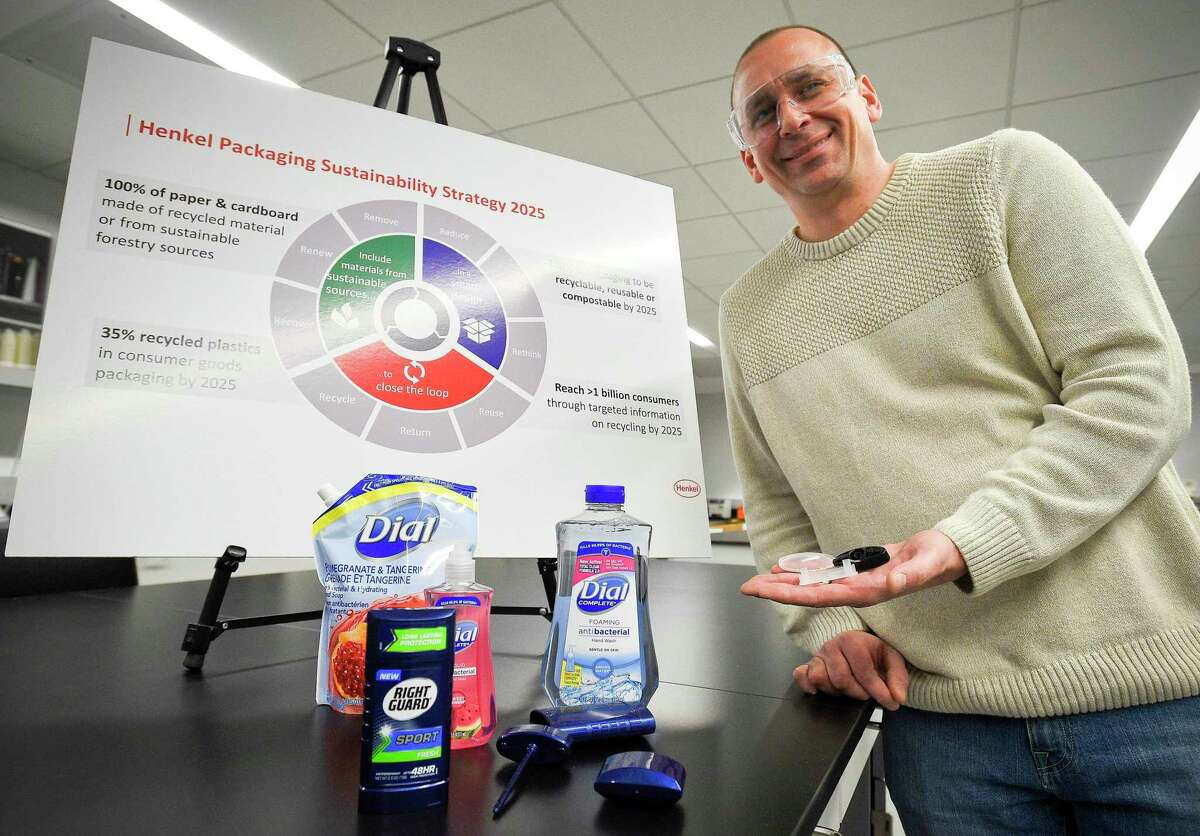 Joel Faaborg, Henkel's director of package development, shows products including Dial soap at the company's North American consumer goods headquarters at 200 Elm St., in downtown Stamford, Conn., on April 5, 2019.