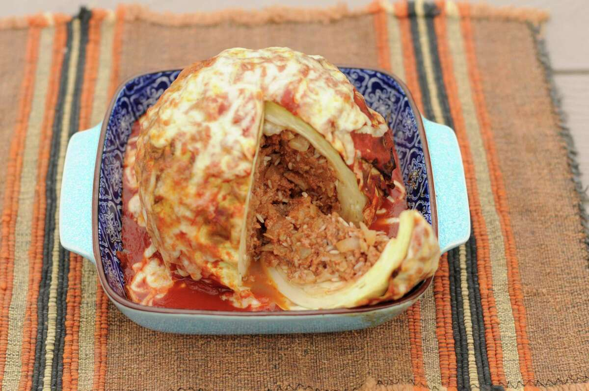Roasted Stuffed Whole Cabbage