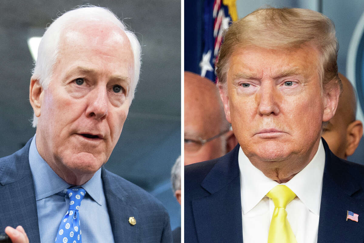 Sen. John Cornyn and President Donald Trump are pictured together in this composite photo.