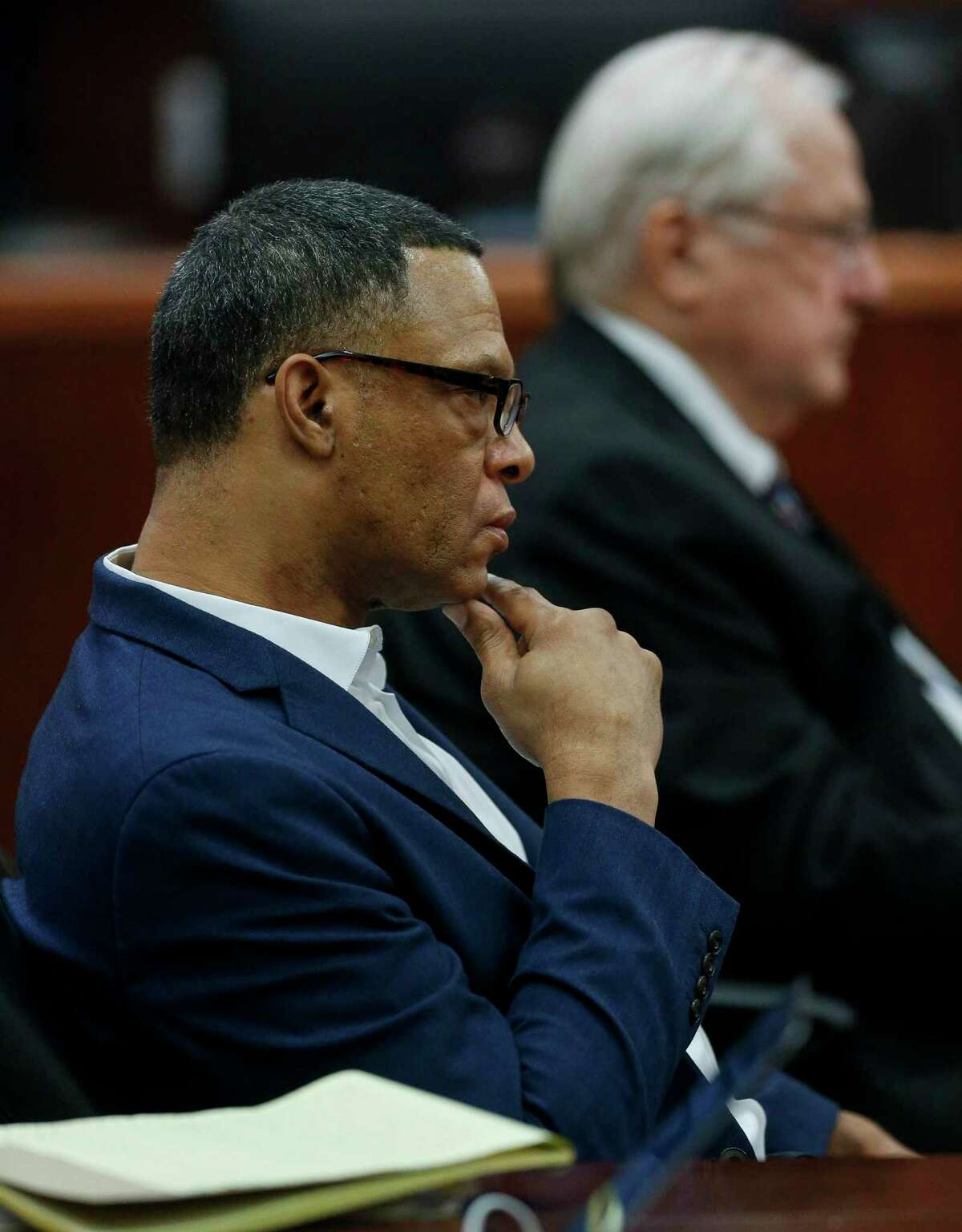 Lucky Ward listens to the closing statements in the punishment phase of his death penalty trial inside Harris County Criminal Court on Tuesday, March 10, 2020, in Houston. The jury last week convicted the Houston man of strangling to death a transgender woman, Charlie Rodriguez, and a homeless woman, Reita Long, in 2010.