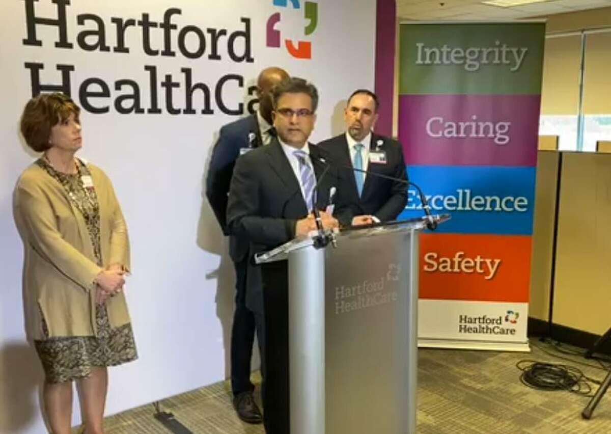 Dr. Ajay Kumar, chief medical officer, Hartford HealthCare, spoke March 10 at Hartford HealthCare's COVID-19 Clinical Command Center in Newington.