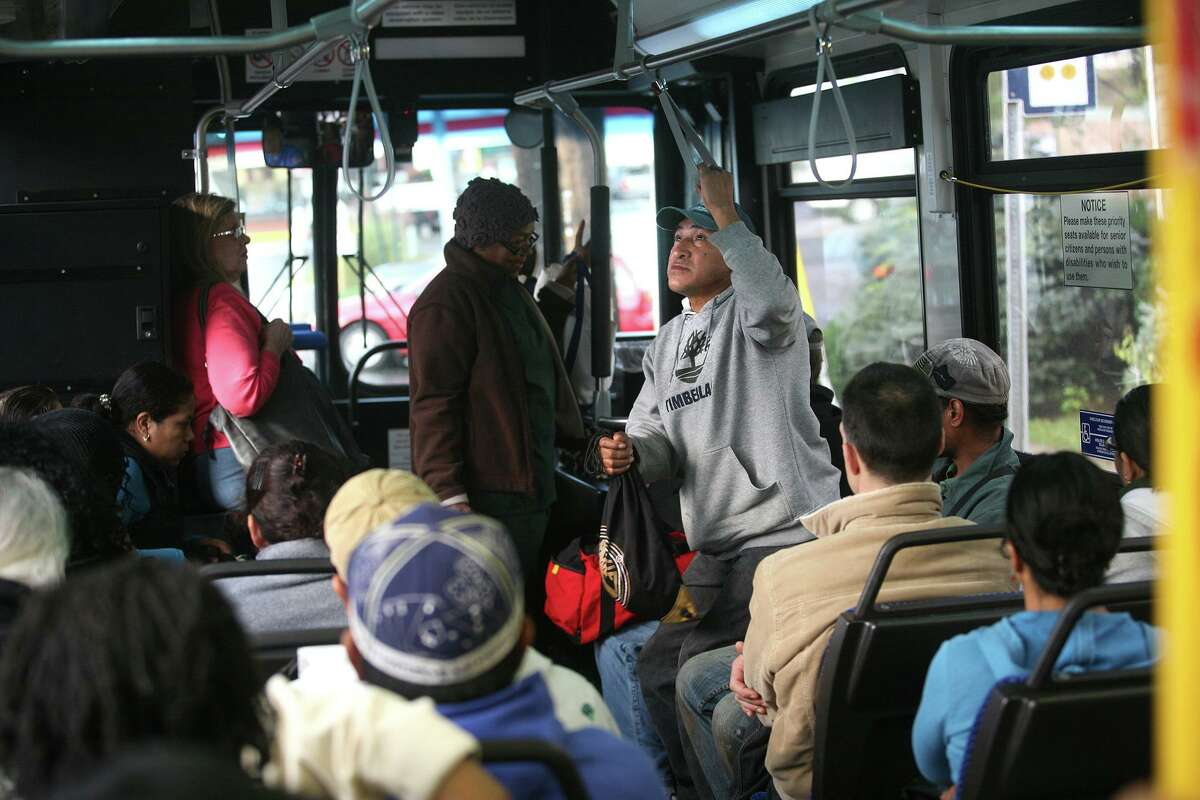 The Milford to Norwalk Coastal Link bus is filled to capacity as it makes its way through Bridgeport on Oct. 20, 2011.