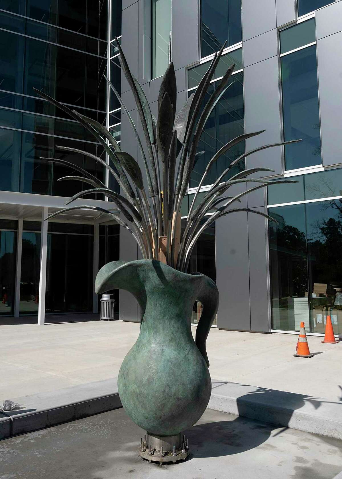 """The sculpture """"Pitcher with Flowers"""" by Sam Houston State University alumni James Surls is seen at the site of the university's new College of Osteopathic Medicine, Feb. 14, 2020, in Conroe."""