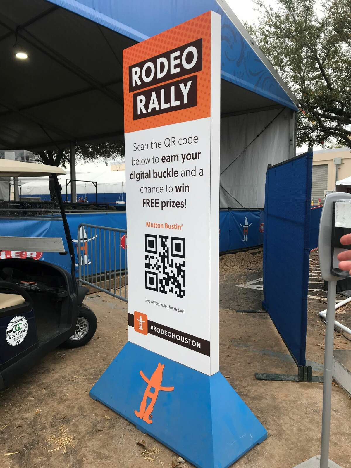 Download the Rodeo appThe RodeoHouston app offers up-to-date info on all things rodeo, including daily schedules and activities, parking info and maps, shopping and dining info, rodeo scores and athlete info and rodeo-themed camera filters. Scan the codes on these hidden Rodeo Rally signs located throughout the grounds to unlock digital buckles.