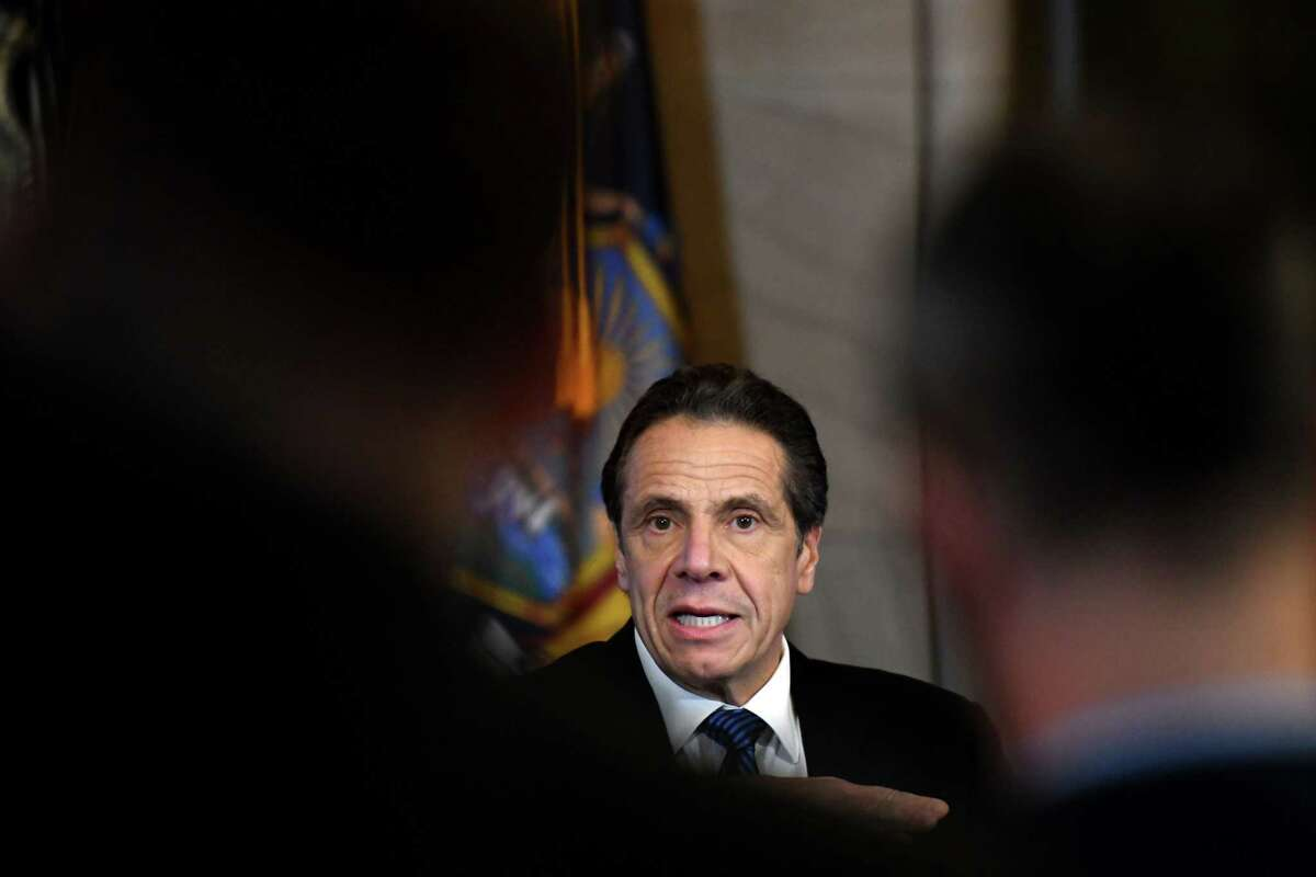 Gov. Andrew Cuomo answers questions during a news briefing where he provided updates on state coronavirus infections, and measures being taken to mitigate its dispersion on Tuesday, March 10, 2020, in the Red Room at the Capitol in Albany, N.Y. (Will Waldron/Times Union)