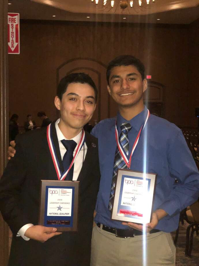 Isaiah D. Rodriguez and Brandon Fenelon qualified for a trip to the national contest in the Business Professionals of America competition. Photo: Courtesy Photos/Plainview High School