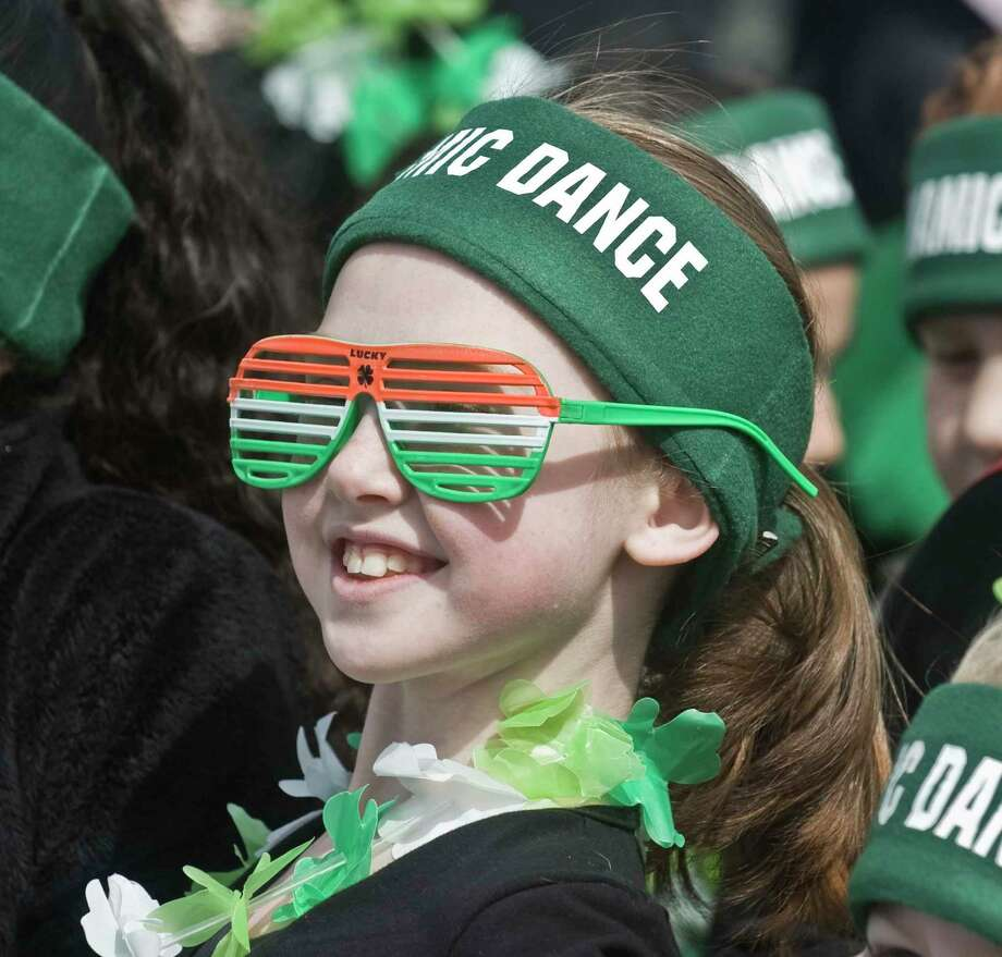 Maddy Fournier, 8 of Danbury Dynamic Dance and Fitness, waits to march in the Danbury St. Patrick's Day Parade. Sunday, March 24, 2019 Photo: Scott Mullin / For Hearst Connecticut Media / The News-Times Freelance