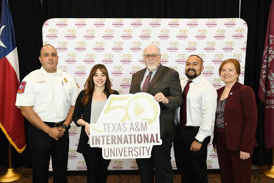 Guillermo Heard, Leslie D. Martinez, Dr. Pablo Arenaz, Joseph P. Byrd and Mary Treviño pose for a photo during the TAMIU Rising Star Awards press conference at the TAMIU Zaffirini Student Success Center, Monday, March 9, 2020. Photo: Christian Alejandro Ocampo
