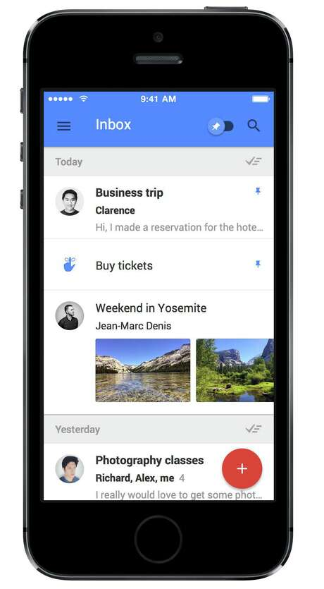This product image provided by Google shows the iPhone version of the company's Inbox app. The application is designed to make it easier for its Gmail users to find and manage important information that can often become buried in their inboxes. (AP Photo/Google)