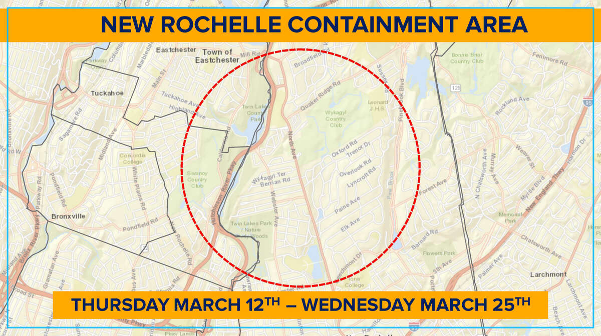A map of the New Rochelle containment area announced by Gov. Andrew Cuomo.
