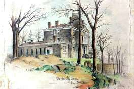 """""""House on the Hill: The Changing Face of the Bruce Museum,"""" exploring how the Greenwich site has changed over time, is running April 4-May 31. Pictured is a colored pencil drawing by architect Albert A. Blodgett, 1935."""