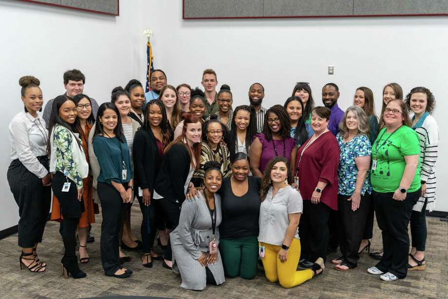 The Spring ISD 2019-20 Rookie Teachers of the Year gather from 31 campuses across the district to celebrate during a ceremony at the Spring ISD Community Engagement Center. Photo: Courtesy Of Spring ISD, Web Specialist & Photographer / Spring Independent School District
