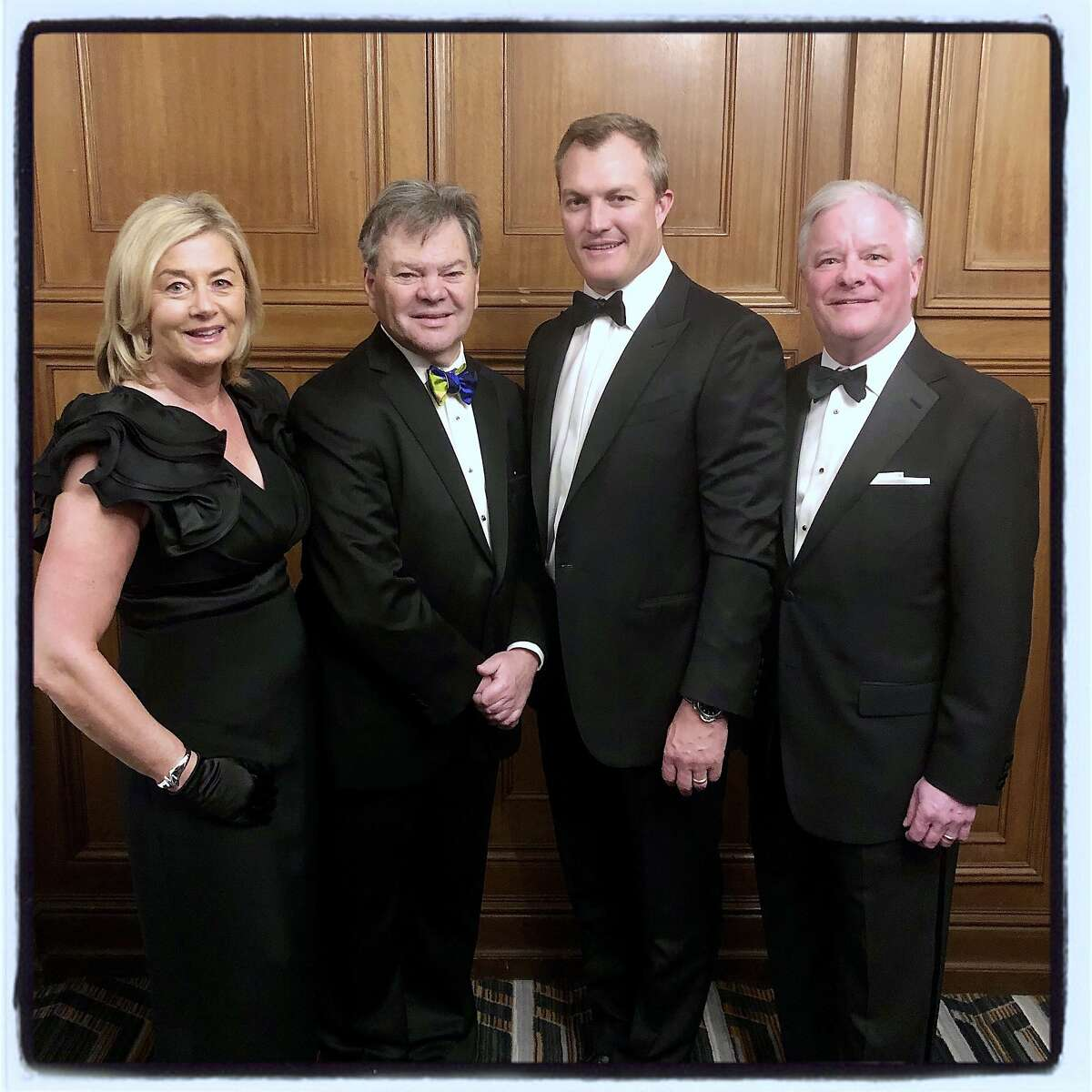Ireland Funds America VP Marjorie Muldowney (left), trustee Bart Murphy, 49ers GM John Lynch and Ireland Funds America Chairman Gene McQuade at the St. Francis Hotel. March 6, 2020.