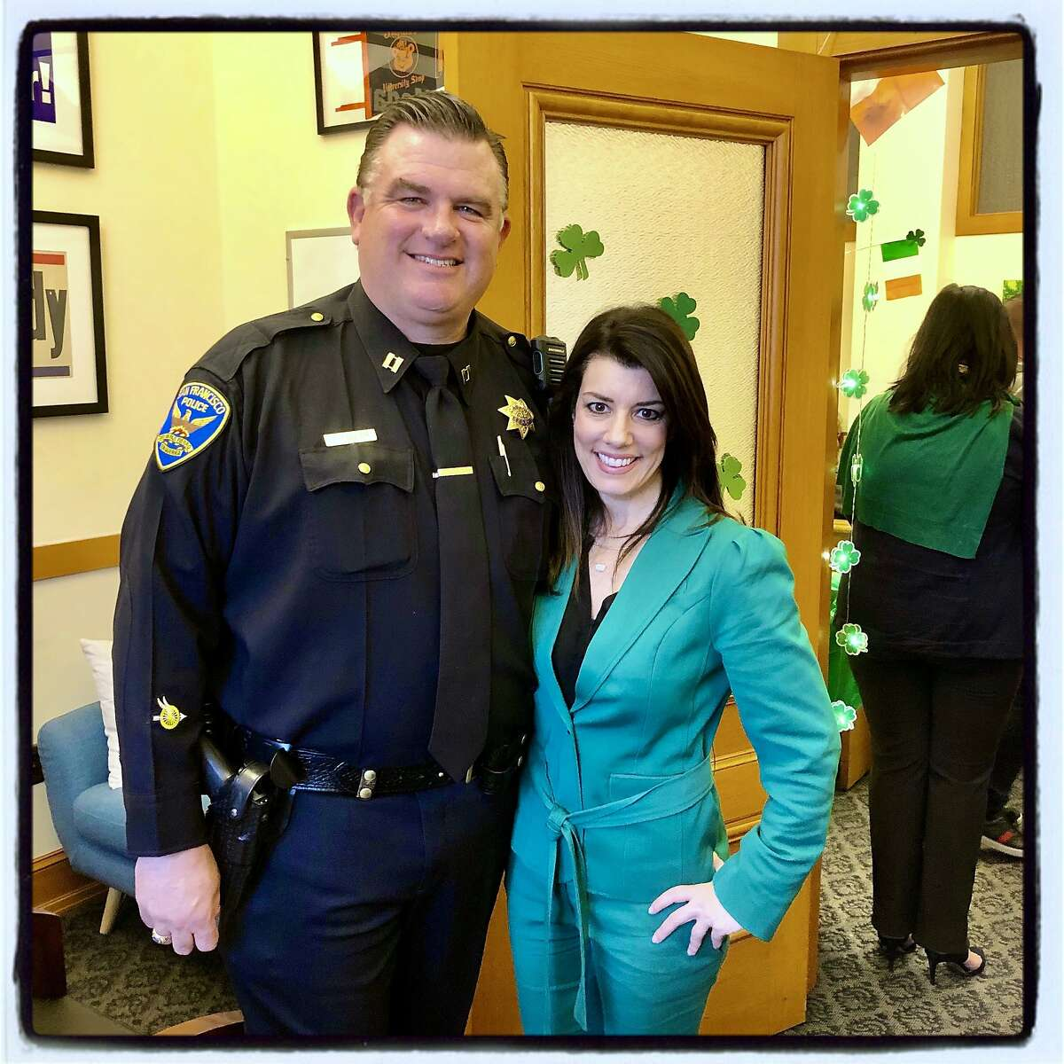Irish Soda bread baker and SFPD Northern Station Captain Joe Engler at a flag-raising post-party hosted by Supervisor Catherine Stefani. March 6, 2020.
