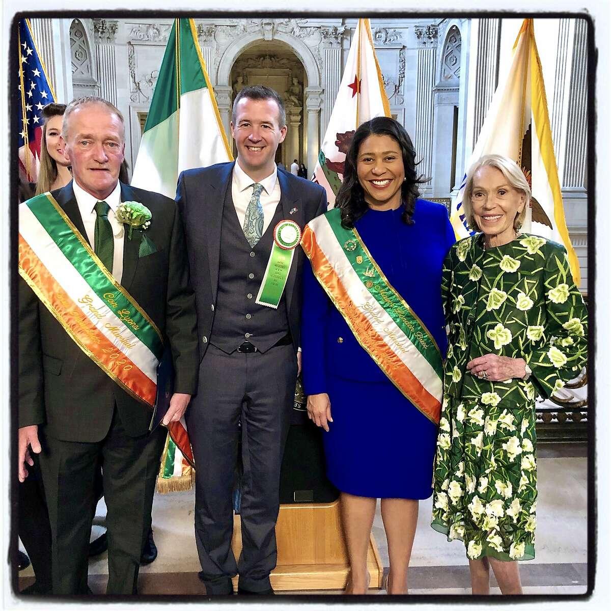 St. Patrick's Day Grand Marshall Con Lyons (left), Irish Consul General Robert O'Driscoll, Mayor London Breed and Protocol Chief Charlotte Shultz. March 6, 2020.