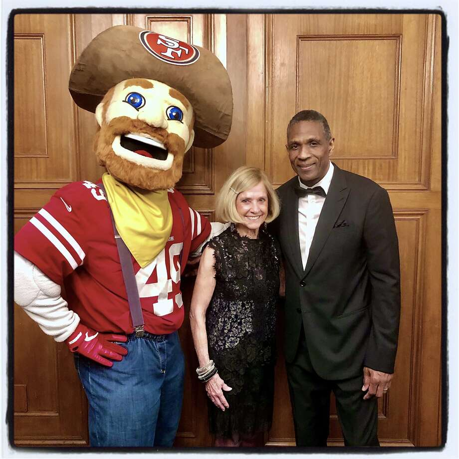 49er mascot Sourdough Sam (left) with Ireland Fund supporter Maureen Sullivan and 49ers great Keena Turner. Photo: Catherine Bigelow / Special To The Chronicle