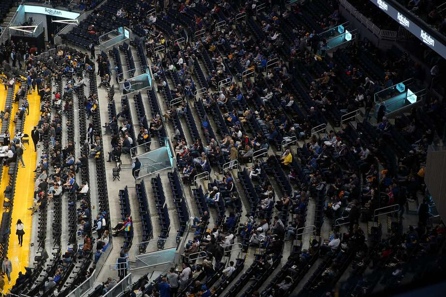 The fans at half time in an NBA game between the Golden State Warriors and Philadelphia 76ers at Chase Center on Saturday, March 7, 2020, in San Francisco, Calif. Photo: Santiago Mejia / The Chronicle