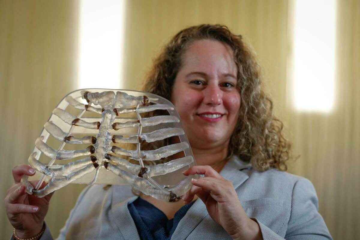 Dr. Gal Levy, a thoracic and cardiac surgeon at UTMB Galveston, used a 3D-printed ribcage to practice a surgery on a real ribcage Wednesday, March 4, 2020, in Houston.