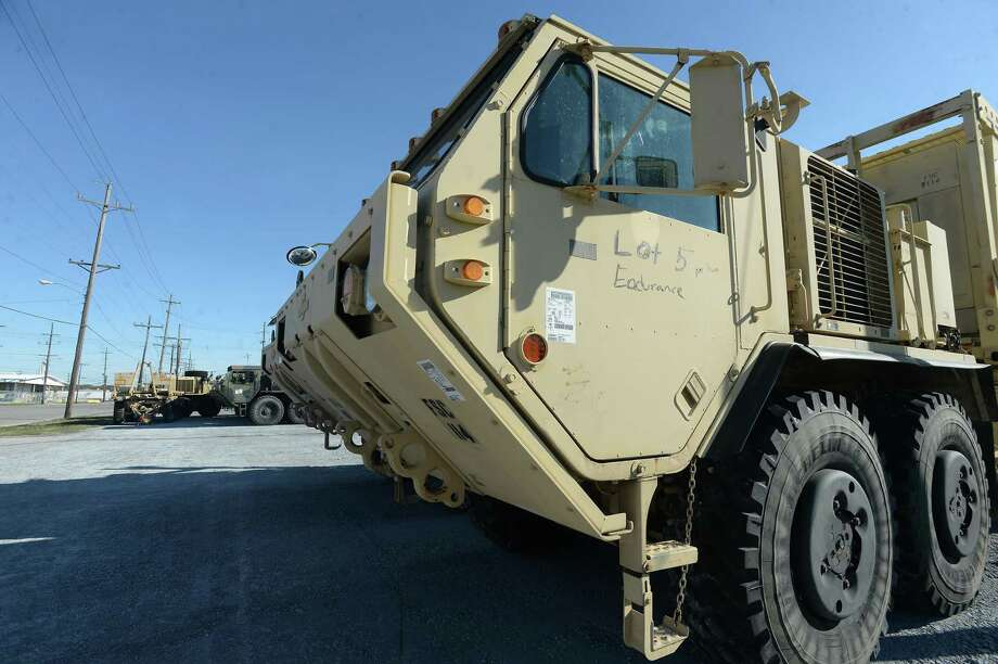 Military vehicles fill lots around the Port of Port Arthur, which will ship overseas for the DEFENDER - Europe 20 military operation. Photo taken Thursday, March 5, 2020 Kim Brent/The Enterprise Photo: Kim Brent / The Enterprise / BEN