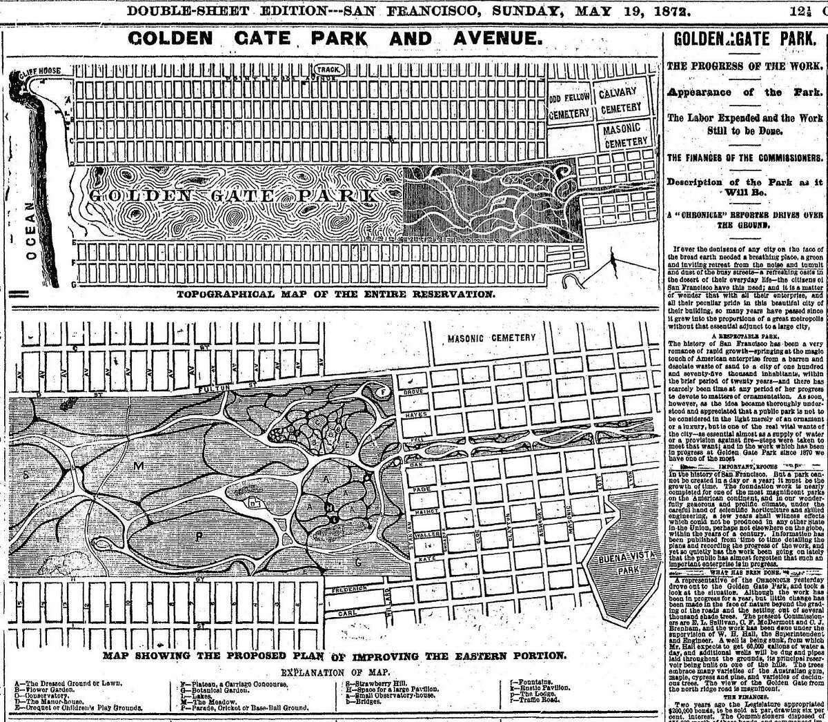 A May 19, 1872 Chronicle map and article shows the plans for Golden Gate Park