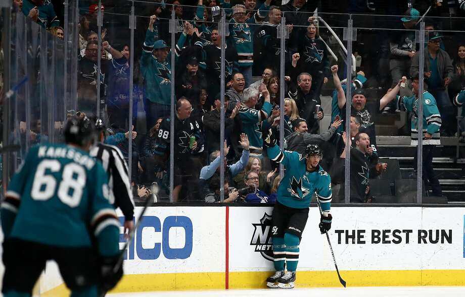 The Sharks' Evander Kane celebrates after he scored a goal against the Toronto Maple Leafs in the third period at SAP Center in a March 3 game. Photo: Ezra Shaw / Getty Images