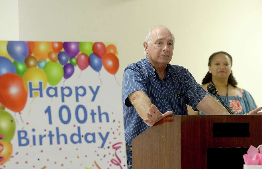 """Ron Sasser speaks about his father, WWII veteran and former Port Neches Mayor Thomas """"T.J."""" Sasser, at his 100th birthday at the Beaumont VA Outpatient Clinic Thursday, May 24. Photo taken Thursday, May 24, 2018 Kim Brent/The Enterprise Photo: Kim Brent / The Enterprise / BEN"""