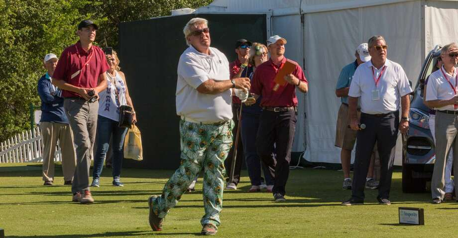 John Daly performing at his Long Drive Competition at the Insperity Invitational. Photo: Paul Lester