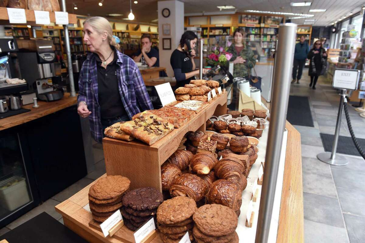 A variety of bakery items made with fresh local milled whole wheat are displayed at Atticus Bookstore & Cafe on Chapel Street in New Haven on March 10, 2020.