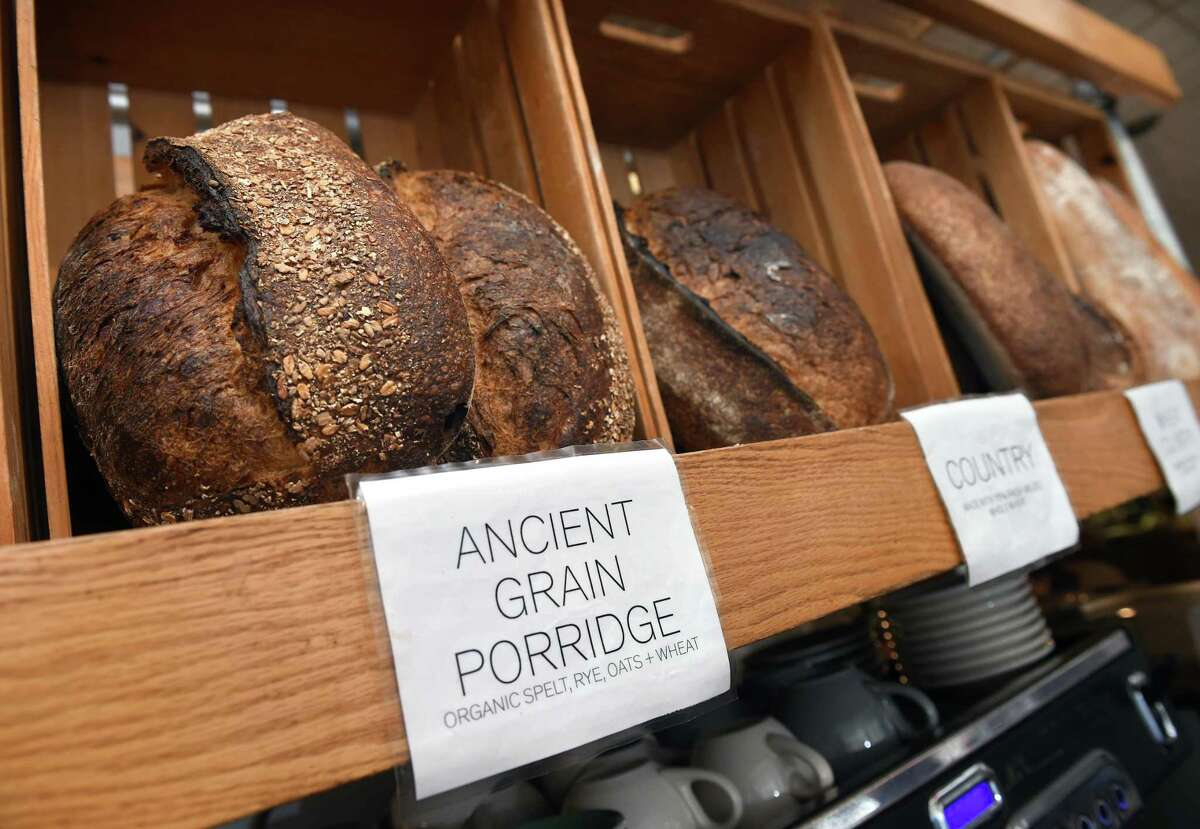 A variety of breads displayed at Atticus Bookstore & Cafe on Chapel Street in New Haven on March 10, 2020.